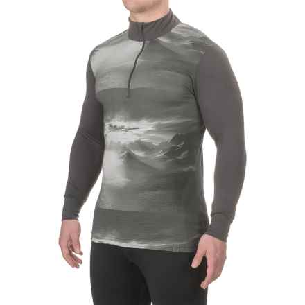 Helly Hansen Graphic Base Layer Top - Merino Wool, Zip Neck, Long Sleeve (For Men) in Ebony Print - Closeouts