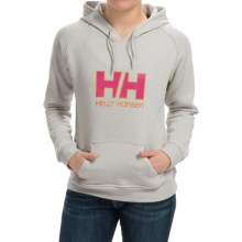 Helly Hansen HH Logo Hoodie (For Women) in Ashe Grey/Magenta - Closeouts