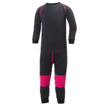 Helly Hansen HH Warm LIFA® Base Layer Set - Merino Wool, 2-Piece (For Little Kids) in Ebony/Magenta - Closeouts