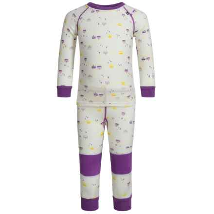Helly Hansen HH Warm LIFA® Base Layer Set - Merino Wool, 2-Piece (For Little Kids) in White/Sunburned Purple Print - Closeouts