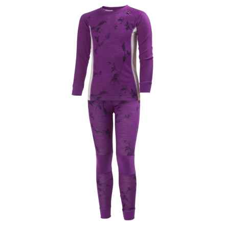Helly Hansen Jr. LIFA® Base Layer Set - Merino Wool, Long Sleeve (For Big Kids) in Sunburned Purple Symbios - Closeouts