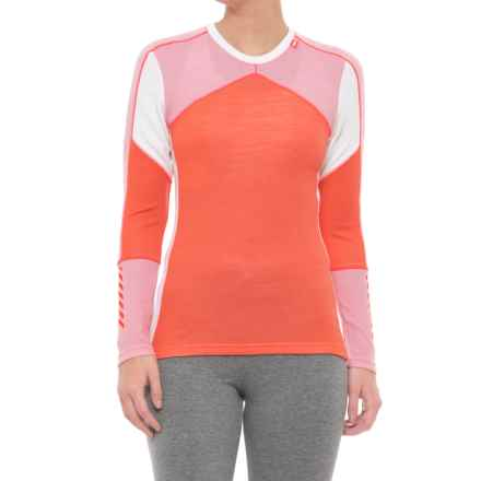 Helly Hansen LIFA® Crew Neck Base Layer Top - Merino Wool, Long Sleeve (For Women) in Living Coral - Closeouts