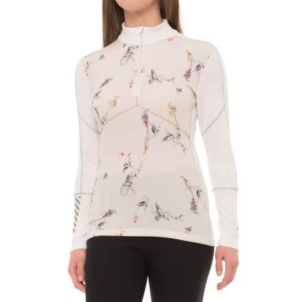 Helly Hansen LIFA® Merino Base Layer Top - Merino Wool, Zip Neck, Long Sleeve (For Women) in Hh White/Symbios Print - Closeouts