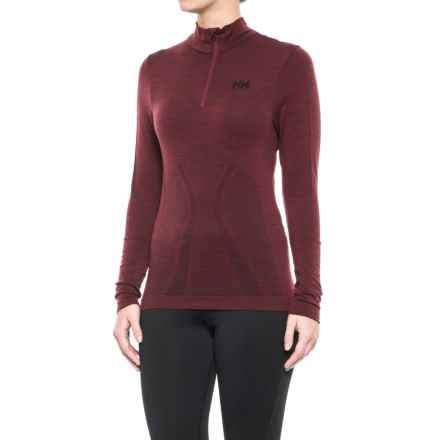 Helly Hansen LIFA® Seamless Base Layer Top - Merino Wool, Zip Neck, Long Sleeve (For Women) in Port - Closeouts