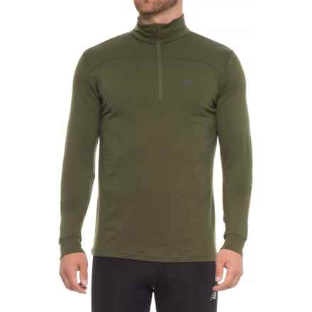 Helly Hansen Merino Mid Base Layer Top - Merino Wool, Zip Neck, Long Sleeve (For Men) in Ivy Green - Closeouts