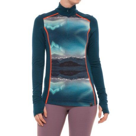 Helly Hansen Mid Graphic Base Layer Shirt - Merino Wool, Zip Neck (For Women) in Midnight Green
