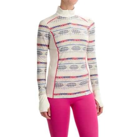 Helly Hansen Mid Graphic Base Layer Shirt - Merino Wool, Zip Neck (For Women) in White Micro - Closeouts