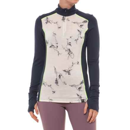 Helly Hansen Mid Graphic Base Layer Shirt - Merino Wool, Zip Neck (For Women) in White/Symbios Print - Closeouts