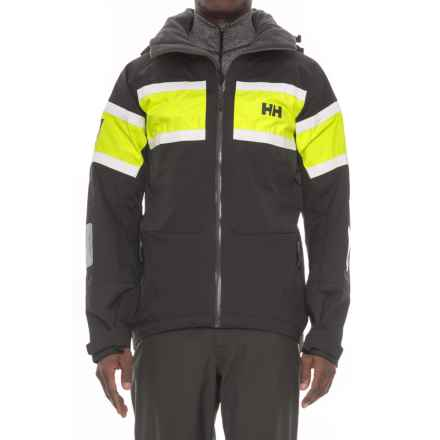 Helly Hansen Salt Jacket - Waterproof (For Men) in Ebony/Yellow - Closeouts