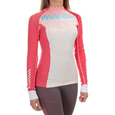 Helly Hansen Warm Freeze Base Layer Top - Merino Wool, Zip Neck, Long Sleeve (For Women) in Pink Glow Print - Closeouts