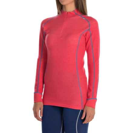 Helly Hansen Warm Freeze Base Layer Top - Merino Wool, Zip Neck, Long Sleeve (For Women) in Pink Glow - Closeouts