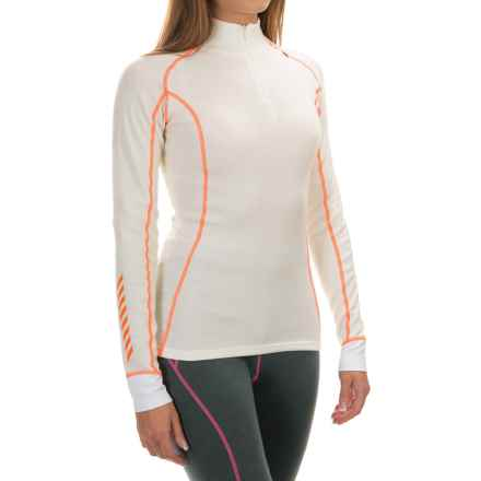 Helly Hansen Warm Freeze Base Layer Top - Merino Wool, Zip Neck, Long Sleeve (For Women) in White/Neon Orange - Closeouts