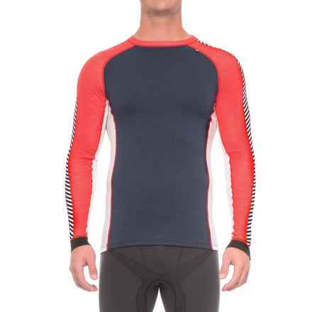 Helly Hansen Warm Ice Base Layer Top - Crew Neck, Long Sleeve (For Men) in Evening Blue/Alert Red - Closeouts