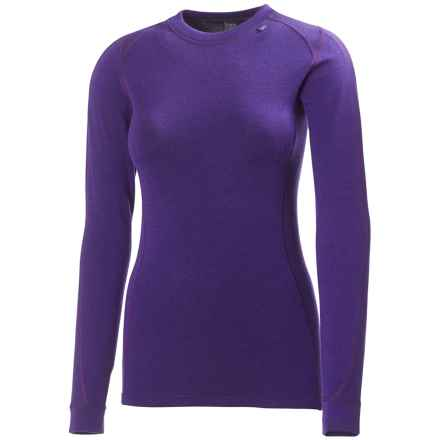 Helly Hansen Warm Ice Base Layer Top - Merino Wool, Crew Neck, Long Sleeve (For Women) in Nordic Purple - Closeouts