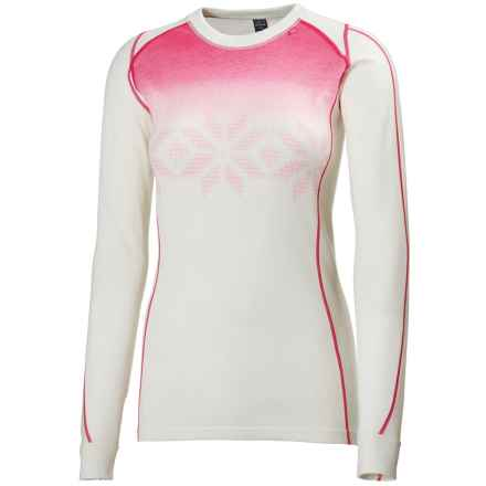 Helly Hansen Warm Ice Base Layer Top - Merino Wool, Crew Neck, Long Sleeve (For Women) in White / Magenta - Closeouts