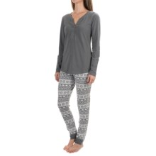 Henley and Pants Pajamas - 2-Piece, Cotton Blend, Long Sleeve (For Women) in Grey/Nordic Polar Bear - Closeouts