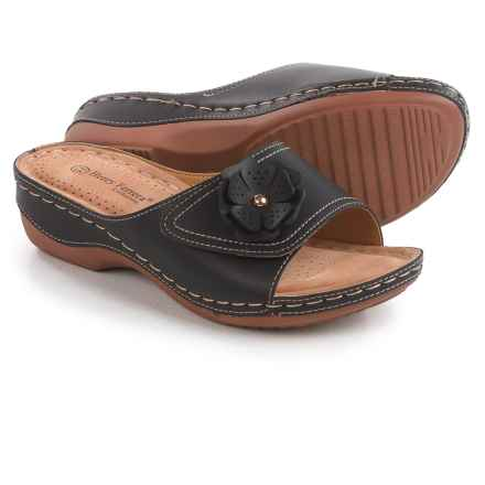 Henry Ferrera Comfort 1 Slide Sandals - Vegan Leather (For Women) in Black - Closeouts