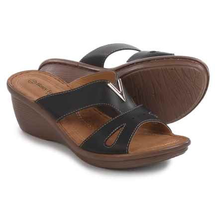 Henry Ferrera Comfort Wedge Sandals - Vegan Leather (For Women) in Black - Closeouts