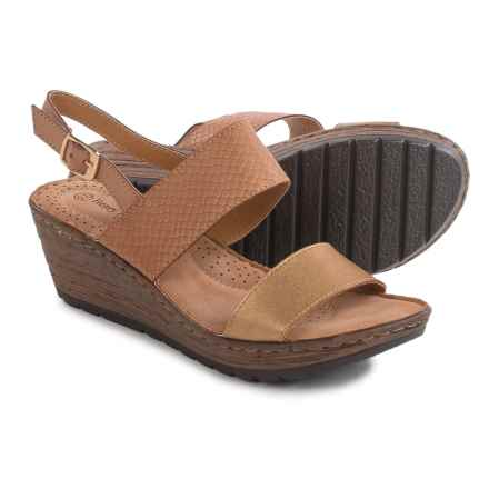 Henry Ferrera Double-Strap Wedge Sandals - Vegan Leather (For Women) in Tan/Gold - Closeouts