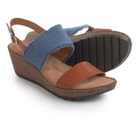 Henry Ferrera Frayed Denim and Vegan Leather Sandals - Wedge Heel (For Women) in Blue/Tan - Closeouts