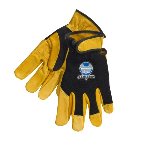 Hercules Mechanic-Style Gloves with Adjust Wrist Strap - B/C-Grade Cowhide Palm (For Men) in Black/Gold