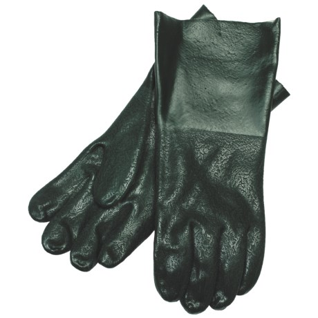 "Hercules Rough Grip PVC Gloves - 12"", Lined (For Men) in Loden"