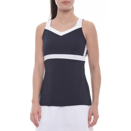 Heritage Full Coverage Tennis Tank Top Upf 30+ (for Women) Navy/white (xs )