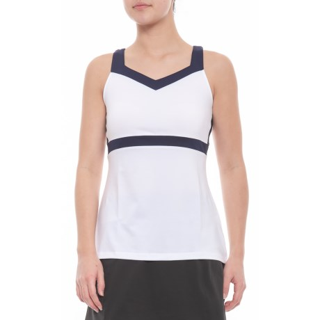 Heritage Full Coverage Tennis Tank Top Upf 30+ (for Women) White/navy (xs )