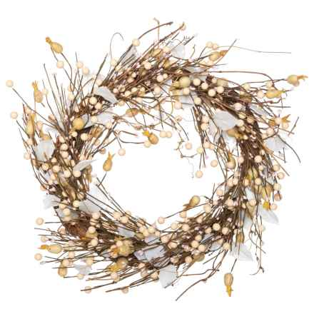 """Heritage Harvest Berries on the Branch Wreath - 26"""" in White - Closeouts"""