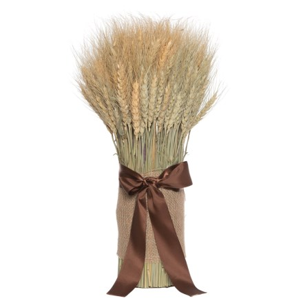 """a58fbdd8ea1 Clearance. Heritage Harvest Golden Wheat Stack with Bow and Burlap - 18"""" in  Natural Brown"""
