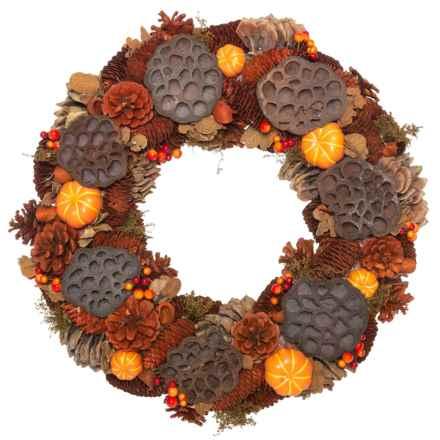 "Heritage Harvest Pinecone, Pumpkin and Lotus Pods Wreath - 18"" in Orange Multi - Closeouts"