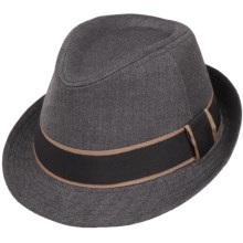 Herringbone Fedora - Satin Lining (For Men) in Black - Closeouts