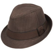 Herringbone Fedora - Satin Lining (For Men) in Brown - Closeouts