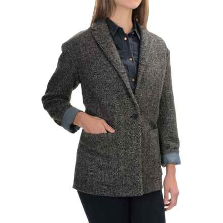 Herringbone Wool Blend Blazer (For Women) in Black/Grey - 2nds