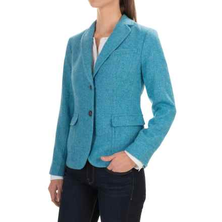 Herringbone Wool Blend Blazer (For Women) in Blue - 2nds