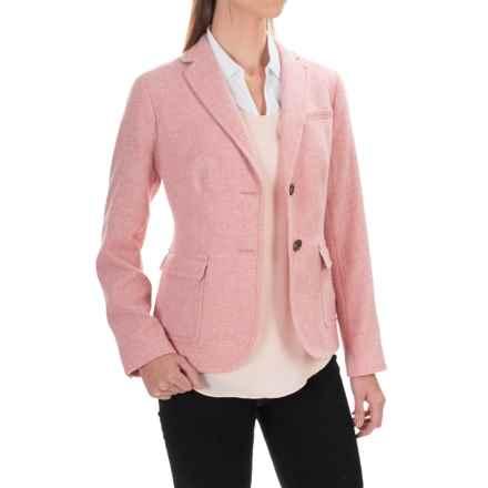 Herringbone Wool Blend Blazer (For Women) in Pink - 2nds