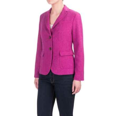 Herringbone Wool Blend Blazer (For Women) in Purple - 2nds