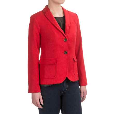 Herringbone Wool Blend Blazer (For Women) in Red - 2nds