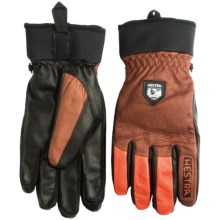 Hestra Army Leather Gloves - Removable Wool Lining (For Men and Women) in Brown/Flame Red - Closeouts