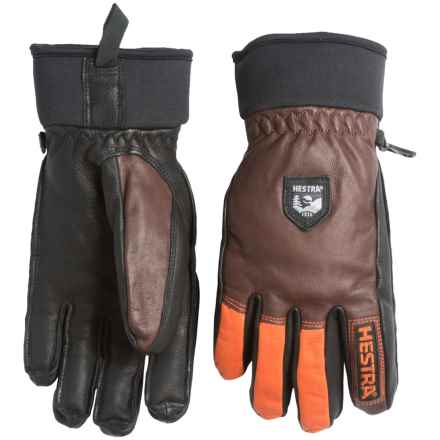Hestra Army Leather Gloves - Removable Wool Lining (For Men and Women) in Chocolate/Flame Red - Closeouts