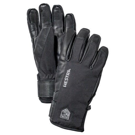 Hestra Army Sastrugi Gloves - Leather (For Men) in Black/Black