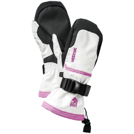 Hestra CZone Gauntlet Jr. Mittens - Waterproof, Insulated (For Little and Big Kids) in Ivory/Pink