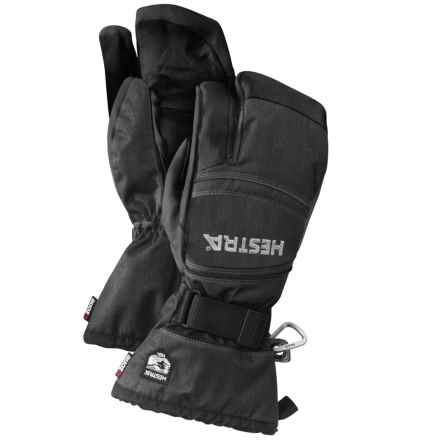 Hestra CZone Mountain 3-Finger Goat Leather Gloves - Waterproof, Insulated (For Men and Women) in Charcoal/Black - Closeouts