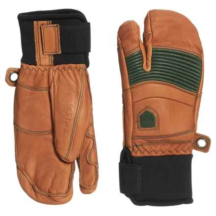 Hestra Fall Line 3-Finger Gloves - Insulated, Leather (For Men and Women) in Cork/Forest - Closeouts