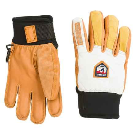Hestra Freeride Junior Leather Gloves - Waterproof, Insulated (For Little and Big Kids) in Offwhite/Natural Brown - Closeouts