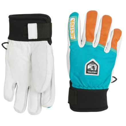 Hestra Freeride Junior Leather Gloves - Waterproof, Insulated (For Little and Big Kids) in Turquoise/Orange - Closeouts