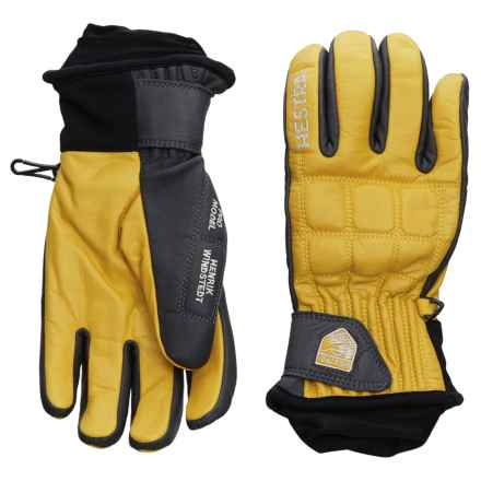 Hestra Henrik Leather Pro Model Gloves - Insulated (For Men) in Yellow/Grey - Closeouts