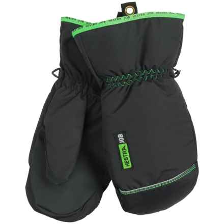 Hestra Job Winter Base Mittens - Insulated (For Men) in Black/Light Green - Closeouts