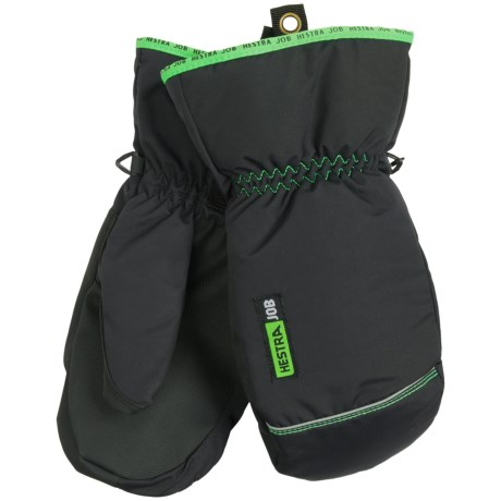 Hestra Job Winter Base Mittens - Insulated (For Men) in Black/Light Green