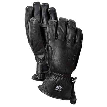 Hestra Leather Swisswool Merino Gloves - Insulated (For Men) in Black - Closeouts